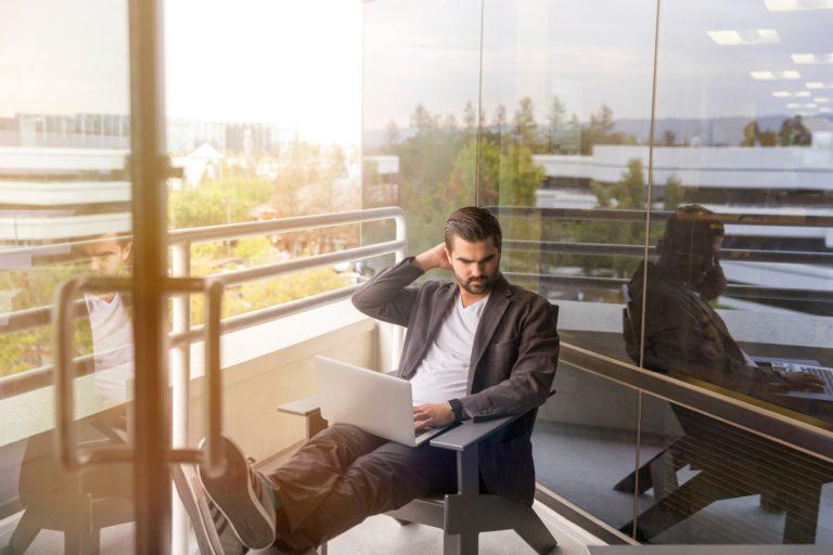 Male Employee Working Outside
